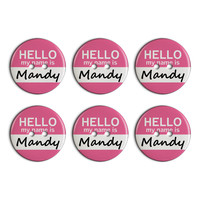 Mandy Hello My Name Is Plastic Resin Button Set of 6