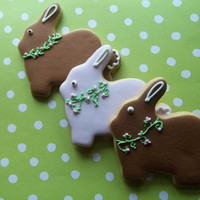 Vintage Farm Bunny Rabbit w flower wreath sugar cookies 1 dz