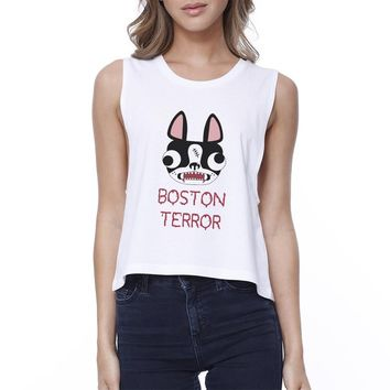 Boston Terror Terrier Womens White Crop Top