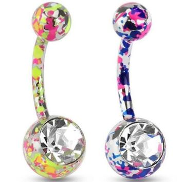 ac PEAPO2Q 1 PC Paint Camouflage Colorful Navel Piercing Earrings Ball Rhinestones Navel Earrings Friend New Year Gift