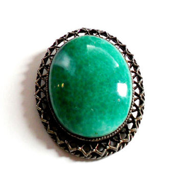 Peking Glass Brooch Pendant Chinese Style Art Glass Green White Faux Jade Vintage