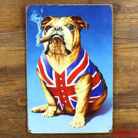 SMOKING DOG! Tin Sign Bar pub home Wall Decor Retro Metal Art Poster