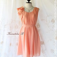 A Party V - Dress - Sweet Party Collection Prom Party Bridesmaid Cocktail Dinner Wedding Dress Pale Tangerine