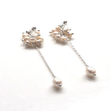 Wedding Clip on Earrings Freshwater Pearl Invisible Clip On Earrings Natural Pearl Beaded Clip Earrings Dangle Clip Ons Non Pierced Earrings