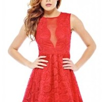 AX Paris Women's Mesh Front Lace Kick Out Red Dress
