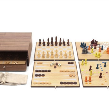 Collector's Edition 5 in 1 Game Set with Walnut and Oak Finish