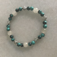 Turquoise and quartz turtle bracelet