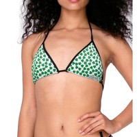 Find the 4 Leaf Clover Shamrocks Swimsuit Bikini Top All Over Print