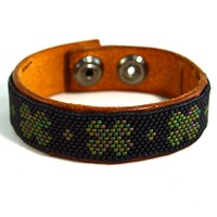 Mens Irish Jewelry Leather Cuff Bracelet Beaded Clover Design in Green and Black with Snaps