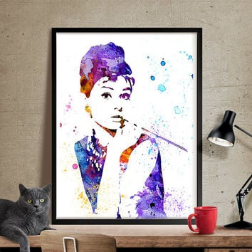 Audrey Hepburn Poster Watercolor Art, Audrey Hepburn Art Celebrity Portraits, Watercolour Painting Print, Audrey Hepburn Print (111)