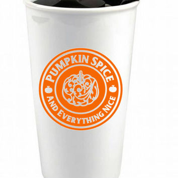 Pumpkin Spice and Everything Nice Custom Ceramic Coffee Cup - Personalized Coffee Cup - Swirly Fall Seasonal Coffee Cup - Pumpkin Travel Mug