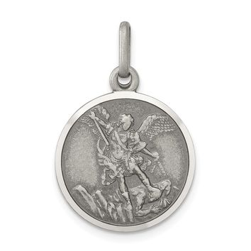 925 Sterling Silver Antiqued Saint Michael Medal