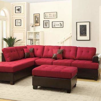 Blended Linen 3 Pieces Sectional Sofa Carmine Red And Brown