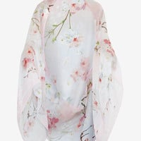 Oriental Blossom silk cape - Light Grey | Scarves | Ted Baker UK