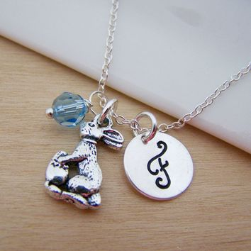 Easter Bunny Charm Swarovski Birthstone Initial Personalized Sterling Silver Necklace / Gift for Her