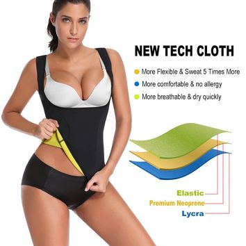 HOPLYNN Neoprene Sauna Waist Trainer Corset Vest For Weight Loss, Hot Body Shaper Slimming Vest For Women Black/S