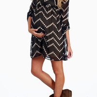 Black Beige Chevron Print Maternity Dress