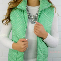 Strolling Along Green Polka Dot Vest