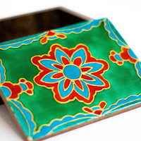 "4.7"" Turquoise rustic jewelry box & hand painted keepsake box. wooden ring box . Stained glass. rustic decor country."