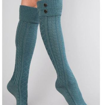 Classic Cable Tall Socks by Simply Noelle