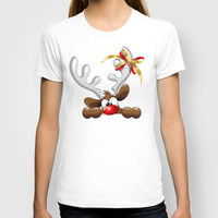 Funny Christmas Reindeer Cartoon T-shirt by Bluedarkat Lem