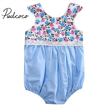 Infant Newborn Baby Girl Lace Floral Romper New Arrival Summer Sleeveless Outfits