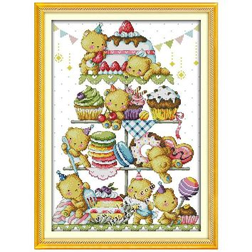 Sweet Little Bear Patterns Counted Cross Stitch 11CT 14CT Cross Stitch Sets Chinese Cross-stitch Kits Embroidery Needlework