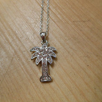 Silver Rhinestone Palm Tree Necklace | Candy's Cottage