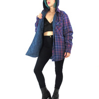90s Grunge Flannel Shirt Quilted Lining Hooded Jacket Lightweight Unisex Mens Plaid Jacket Button Down Chest Pockets Lumberjack Shirt (L/XL)