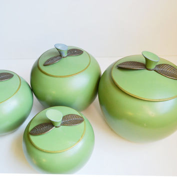 Vintage Green Apple Canisters Apple Containers Retro Kitchen Aluminum Canisters Cookie Jars Tea Tins Mid Century Modern Apples