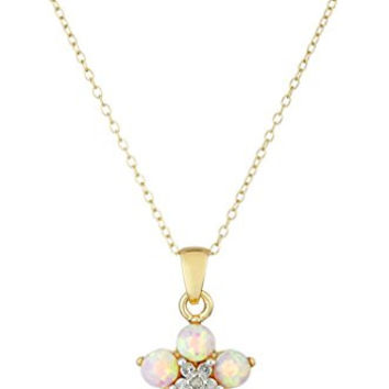 18k Yellow Gold  Rhodium Plated Sterling Silver Two-Tone Created Pink Opal Flower Pendant Necklace, 18""