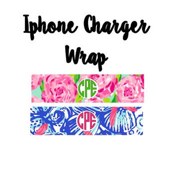 Lilly Pulitzer Inspired  Iphone Monogram Charger Wrap - Vinyl Monogram iPhone Decal - Dorm Gift - Monogram Decal - Phone Decal