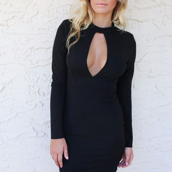 Black Fragile Heart Long Sleeve Dress