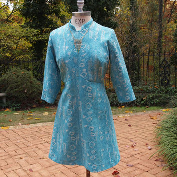 Vintage Mini Dress Berkshire B-tween Aqua 70's Polyester Short Go Go Dress size Large