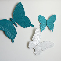Vintage Upcycled Blue and White Butterflies, Plastic Butterfly, Butterfly, Plastic Butterfly, Retro Butterflies, Painted Butterflies