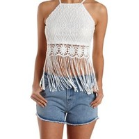 White Crochet Fringe Lace Crop Top by Charlotte Russe