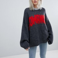 Weekday Oversized Knit Jumper with Slogan Print at asos.com