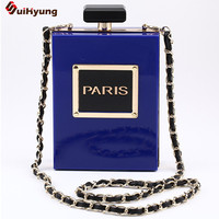 Hot Style Women's New Perfume Bottles Evening Bag Acrylic Letters Day Clutches Wedding Banquet Party Handbag Chain Shoulder Bag
