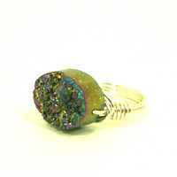 Metallic Rainbow Druzy Ring Oval Quartz Titanium Blue Silver Plated Wire Wrapped Size 7