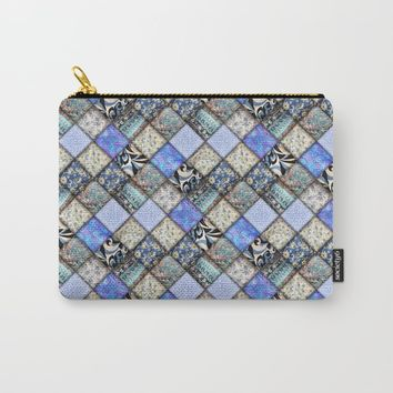 Faux Patchwork Quilting - Blues Carry-All Pouch by gx9designs