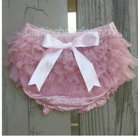 Dusty Rose diaper cover - Mauve Diaper Cover - Newborn diaper covers - Chiffon Bloomers - infant diaper cover - baby bloomers - pink bloomer