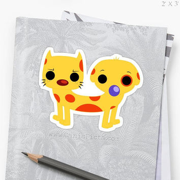 Chibi Catdog Die-cut STICKER Gift Idea Yellow Spots Dog Cat Retro Vintage 90s Baby Fun Laptop Decor Locker Cute Puppy Kitten Fan Fandom OOAK