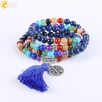 CSJA 7 Chakra Multilayer Charms Bracelets Jewelry Lapis Lazuli Mala Prayer Beads Reiki Healing Yoga Meditation Power Tassel E660