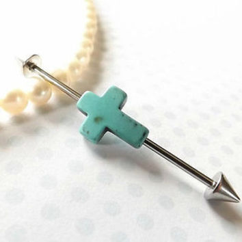 Cross Industrial Barbell 14ga Body Jewelry Ear Jewelry Double Piercing 1 1/2""