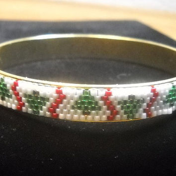 Beaded Bangle Bracelet Christmas Tree Bangle Bracelet