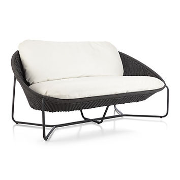 Morocco Charcoal Oval Loveseat With From Crate And Barrel Home