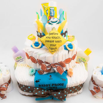 3 Tier Diaper Cake with 2 mini Cakes Shower Gift or Centerpiece