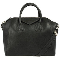 Givenchy Antigona Sugar Goatskin Satchel Bag | Black w/ Silver Hardware | Medium
