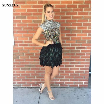 Feathers Short Cocktail Dresses Cap Sleeves High Neck Rhinestones Sequins  Beaded Party Dresses For Teens Robe efb25686c
