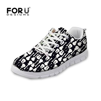 FORUDESIGNS 2018 Women Flats Shoes 3D Guitar Puzzle Prints Casual Brand Women's Sneakers Breathable Mesh Shoes for Teenage Girls